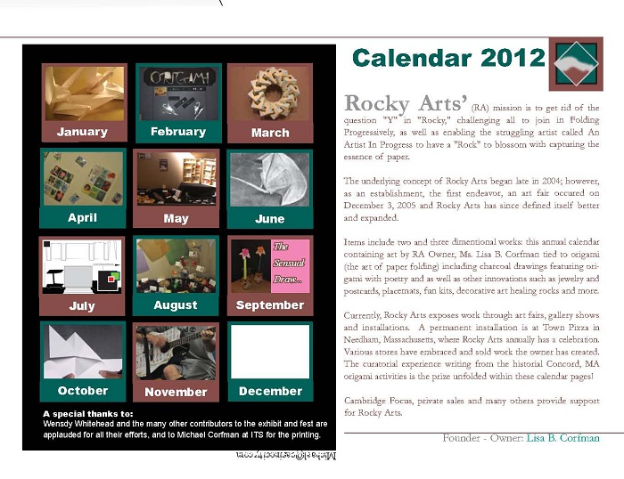 Back of 2012 calendar