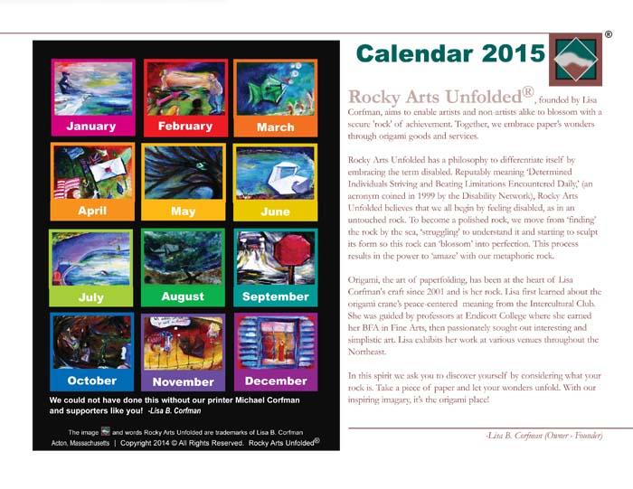 Back of 2015 calendar