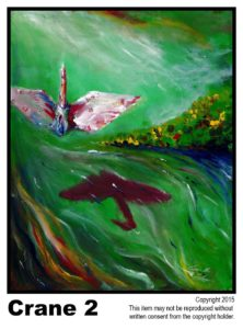 Crane Above Rapid Stream - $195	<br> Acrylic on Stretched Canvas<br> Traditional - 16 x 20 in.