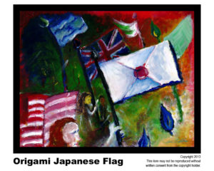 Japanese Flag - $95  	#71<br> Acrylic on Stretched Canvas<br> Lisa B. Corfman - 16 x 20 in.