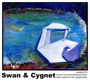 Swan & Cygnet - SOLD	#58<br>Acrylic on Stretched CanvasGay <br>Merrill Gross - 16 x 20 in.