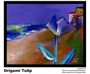 Tulip Beach Scene - $395   #70<br> Acrylic on Stretched Canvas<br> Traditional - 16 x 20 in.