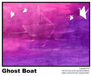 Ghost Boat - $40	T#6<br> Tempera<br> Traditional - 18 x 24 in.