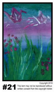 Early Sunrise With Crane - $30	T#21<br> Tempera<br> Traditional - 11 x 17 in.
