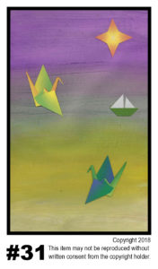 Origami Lit Water - $30	T#31<br> Tempera<br> Traditional - 11 x 17 in.