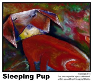 Sleeping Puppy - $395  #10.  Acrylic on Stretched Canvas.  Traditional - 16 x 20 in.