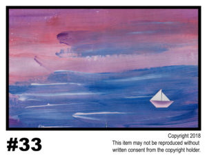 Sailing At Sunset - $30	T#33<br> Tempera<br> Traditional - 11 x 17 in.