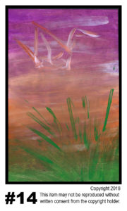 Sunset With Crane 1 - $30	T#14<br> Tempera<br> Traditional - 11 x 17 in