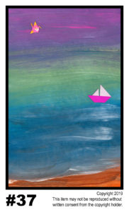 By the Beach, Sailing - $30	T#37<br> Tempera<br> Traditional - 11 x 17 in.