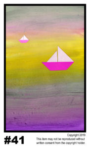 Distant Boats - $30	T#41<br> Tempera<br> Traditional - 11 x 17 in.