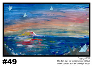 Birds by the Ocean - $30	T#49<br> Tempera<br> Traditional - 11 x 17 in.