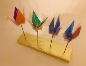4 cranes on base in memory of: 1) Yami Yamachi, 2) A best friend, 3) Dear Robin, 4) Mark Kennedy