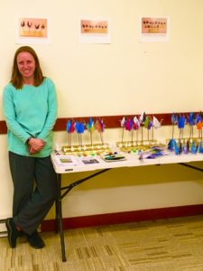Lisa with Maynard Library items