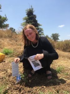 Private service while planting trees in Israel.    The Remembrance Cranes rested by the trees.