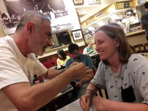 Origami club teaching by Israel to Lisa