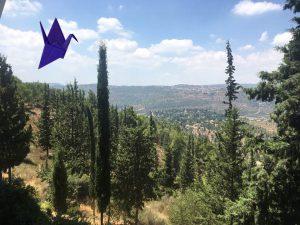 Yad Vashem view - with a crane